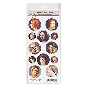 crafting paper, piddix, matte multicolored, 9-1/2 x 4-1/2 inches with (4) 1-inch and (8) 1-11/16 inch single-sided circle with renaissance ladies patterns. sold individually.