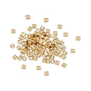 crimp, 12kt gold-filled, 2x2mm smooth tube, 1.1mm inside diameter. sold per pkg of 100.