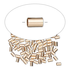crimp, 14kt rose gold-filled, 3x2mm tube, 1.4mm inside diameter. sold per pkg of 10.