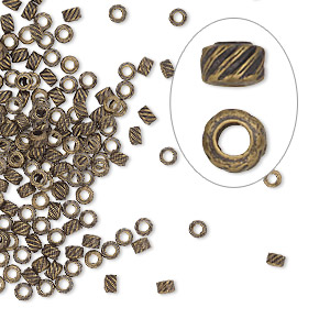 crimp, antique gold-plated brass, 2.5x1.5mm corrugated round, 1.2mm inside diameter. sold per pkg of 500.