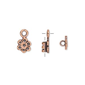 crimp, antiqued copper-plated brass, 8x7mm flower with loop, 2mm inside diameter. sold per pkg of 2.
