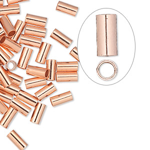 crimp, copper, 6x3mm seamless tube, 2.25mm inside diameter. sold per pkg of 10.