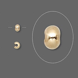 crimp cover, gold-plated brass, 3mm round. sold per pkg of 500.