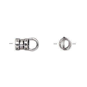 crimp end, antique silver-plated brass, 6.5x6mm tube with loop, 3.8mm inside diameter. sold per pkg of 2.