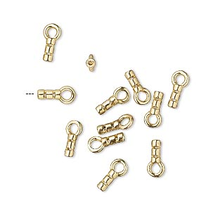 crimp end, jbb findings, brass, 5x2mm tube with loop, 0.6mm inside diameter. sold per pkg of 10.