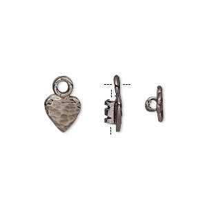 crimp, gunmetal-plated brass, 8x7.5mm textured heart with loop, 2mm inside diameter. sold per pkg of 2.