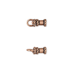 crimp, jbb findings, antique copper-plated brass, 8x5mm tube with swivel, loop and rope trim design, 2mm inside diameter. sold per pkg of 2.