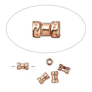 crimp, jbb findings, copper-plated brass, 5.5x2.5mm tube, 2mm inside diameter. sold per pkg of 4.