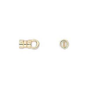 crimp, jbb findings, gold-plated pewter (tin-based alloy), 6x4mm with loop and 2.5mm inside diameter. sold per pkg of 2.