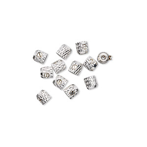 crimp, screw-tite crimps™, silver-plated copper, 3.5x3.5mm barrel, 1mm inside diameter. sold per pkg of 12.