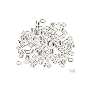 crimp, sterling silver, 2x1.6mm smooth round tube, 1.1mm inside diameter. sold per pkg of 100.