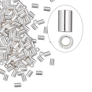 crimp, sterling silver, 3x2mm cut tube with heavy wall, 1mm inside diameter. sold per pkg of 100.