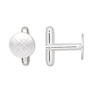 cuff link, silver-plated brass, 12mm flat round pad. sold per pkg of 2 pairs.