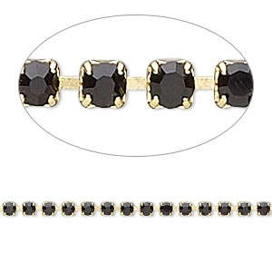 cupchain, glass rhinestone and gold-finished brass, black, 2mm round. sold per pkg of 1 meter, approximately 320 cups.