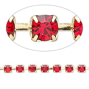 cupchain, glass rhinestone and gold-finished brass, light red, 4mm round. sold per pkg of 1 meter, approximately 160 cups.