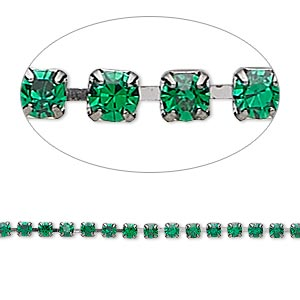 cupchain, glass rhinestone and gunmetal-plated brass, emerald green, 2mm round. sold per pkg of 1 meter, approximately 320 cups.
