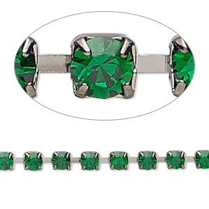 cupchain, glass rhinestone and gunmetal-plated brass, emerald green, 4mm round. sold per pkg of 1 meter, approximately 160 cups.