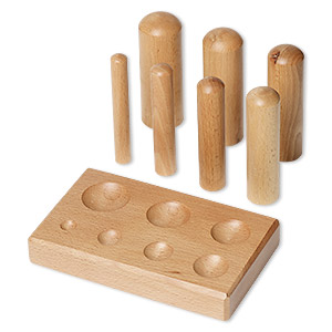 dapping block and punch, wood, 6-1/4 x 3-3/4 x 3/4 inches. sold per 8-piece set.