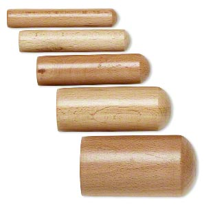 dapping punch, wood, 2/3 to 2-inch round, 3-3/4 inches with domed end. sold per 5-piece set.
