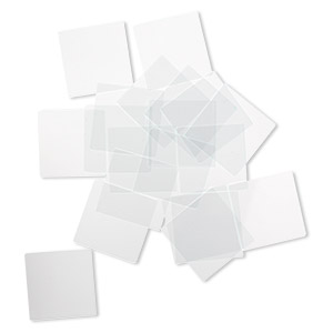 design element, glass, clear, 1-1/4 x 1-1/4 inch flat square with grounded edges. sold per pkg of 20.