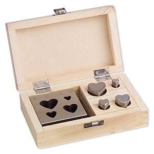 disc cutter, steel and wood, 3 x 3 x 1-inch base for cutting 11mm-29x25mm hearts. sold per 5-piece set.