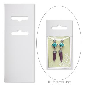 display card, paper, white, 3-1/2 x 2 inches with fold-over butterfly hang tab. sold per pkg of 50.