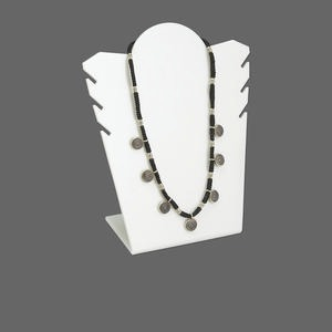 display, chain and necklace, acrylic, white, 6-3/4 x 6 x 3 inches. sold per pkg of 2.