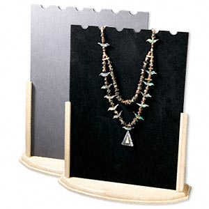 display, chain and necklace, wood / velveteen / plastic, black and grey, 15 x 13 inches. sold individually.
