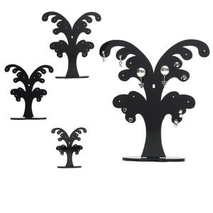 display, earring, acrylic, black, (1) 6 x 1-1/2 x 4-inch, (1) 4-3/4 x 1-1/8 x 3-1/8 inch and (1) 3-1/2 x 1 x 2-5/16 inch tree. sold per set of 3.