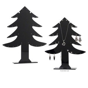 display, earring, acrylic, black, 9-1/2 x 1-1/2 x 4-inch christmas tree. sold individually.