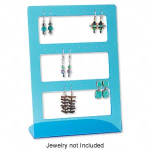 display, earring, acrylic, transparent blue. 8-1/2 x 6 x 3 inches. sold per pkg of 2.