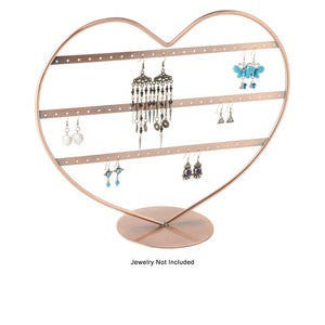 display, earring, antique copper-finished steel, 11-3/4 x 10-1/4 x 4-1/2 inch heart with 3 rows, holds 33 pairs. sold individually.