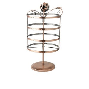 display, earring, antique copper-finished steel, 16 x 8 x 6-inch round, rose series. sold individually.