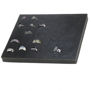 display insert, ring, foam, black, 7-3/4 x 6-3/4 x 3/4 inches with 30 slots, fits standard half tray. sold individually.