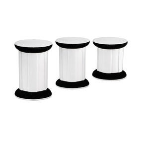 display, leatherette, black and white, 2-3/4 x 4-1/2 x 3-3/4 inch pillar. sold per 3-piece set.