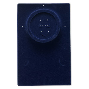 display, necklace / bracelet / earring, velveteen and plastic, dark blue, 10 x 6-1/2 x 1/2 inch rectangle. sold per pkg of 4.
