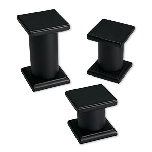 display, pedestal, black, assorted graduated square. sold per 3-piece set.