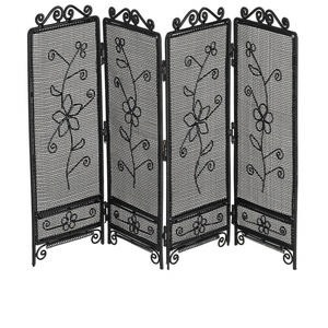 display, steel, black, 11-3/5x7-1/2 inch four-section partition with flower design. sold individually.