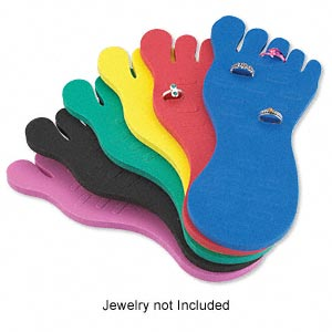 display, toe ring, foam, assorted colors, 7-1/4 x 3-1/4 x 1/4 inches. sold per pkg of 6.