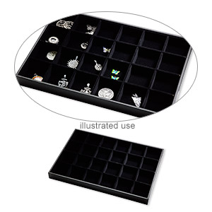 display tray, leatherette and velveteen, black, 13-3/4 x 1-1/4 x 9-1/2 inches with insert. sold individually.