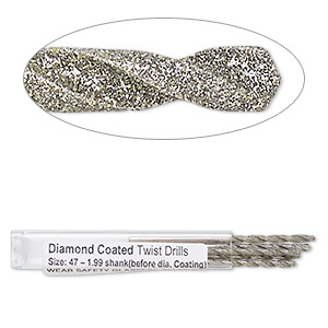 drill bit, diamond-coated high speed steel, 2 inches with 1.99mm shank and 2.2mm twisted bit. sold per pkg of 5.