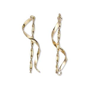 drop, 14kt gold-filled, 1-inch smooth swirl with twist and loop. sold per pkg of 2.