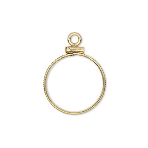 drop, 14kt gold-filled, 18.5mm open round with 18mm screw-fastened flat round bezel setting. sold individually.