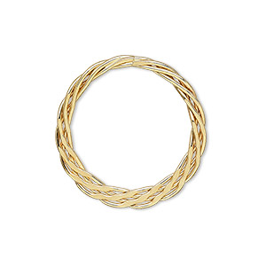 drop, 14kt gold-filled, 25mm braided flat round. sold per pkg of 2.