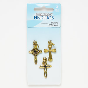 drop, acrylic and antique gold-finished pewter (zinc-based alloy), 22x17mm fancy cross / 23x17mm fancy cross with cutout design / 26x18mm fancy cross. sold per pkg of 3.