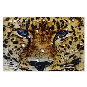drop, acrylic, multicolored, 3x2 inch puzzle with cheetah image and 20x15mm individual pieces. sold per 15-piece set.
