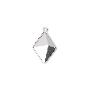 drop, almost instant jewelry / swarovski crystals / crystal passions, rhodium-plated brass, 16x12mm with 14x10.5mm tilted spike setting (4929/c). sold individually.