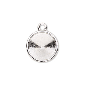 drop, almost instant jewelry and tierracast, rhodium-plated pewter (tin-based alloy), 17mm round with 14mm rivoli setting. sold individually.