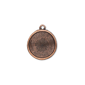 drop, almost instant jewelry, antique copper-plated pewter (tin-based alloy), 17mm round with 14mm rivoli setting. sold individually.