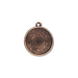 drop, almost instant jewelry, antique copper-plated pewter (tin-based alloy), 18mm round with 16mm rivoli setting. sold individually.